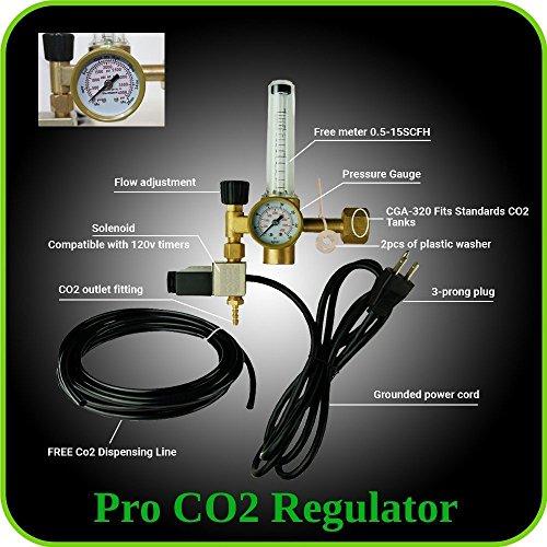 BUBBLEBAGDUDE CO2-Regulator Hydrokulturen Emitter-Magnetventil Ventil und leicht einstellbar Flow Meter von hoher Qualität, Messing, kurz, mit der Zeit für die, für Aquarien,