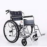 MTX Ltd Ältere Menschen Liefert Rollstuhl Faltbarer Leichtgewichtsrollstuhl, Aluminiumrollstuhl, Manueller Rollstuhl, Faltender Reiserollstuhl, Beweglich, Abnehmbar,schwarz,A