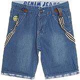 Jungen Kinder Kurze Hose Jeans Hosenträgern Bermuda Shorts Capri Strech 21214, Farbe:Blau;Größe:164