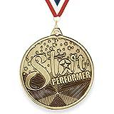 Trophy Monster Star Performer medaille met GRATIS lint 50mm gestempeld ijzer   Antiek goud afwerking