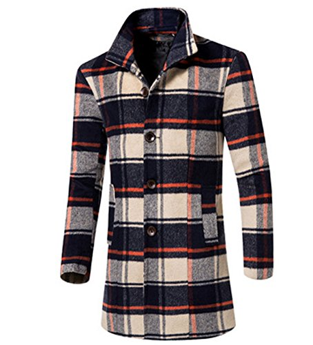 Lanmworn Herren 5 Farben Klassisch Plaid Mantel Single-Breasted Mantel Peacoat Slim Fit Casual Anzug Blazer Jacke Parka Topcoat Outwear (Single Double-taste Breasted)