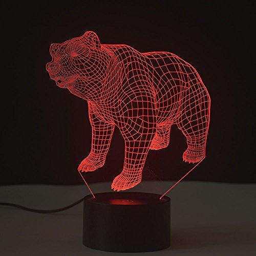 Preisvergleich Produktbild 3D Optische Täuschung Nachtlicht Touch LED Tisch Schreibtischlampe 7 Farbwechsel USB Ladegerät Powered Touch Schalter Schreibtisch Nachtlicht für Kinder Freunde Geschenk(Bärin)