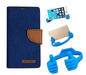 Aart Fancy Wallet Dairy Jeans Flip Case Cover for MotorolaMotoE (Blue) + Flexible Portable Mount Cradle Thumb OK Designed Stand Holder By Aart Store.