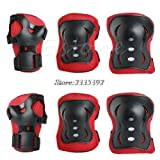 #5: black red, one size : Kid Roller Skating Skateboard Elbow Knee Pads Wrist Protective Guard Gear Pad Gear Nylon Child Cycling Sports