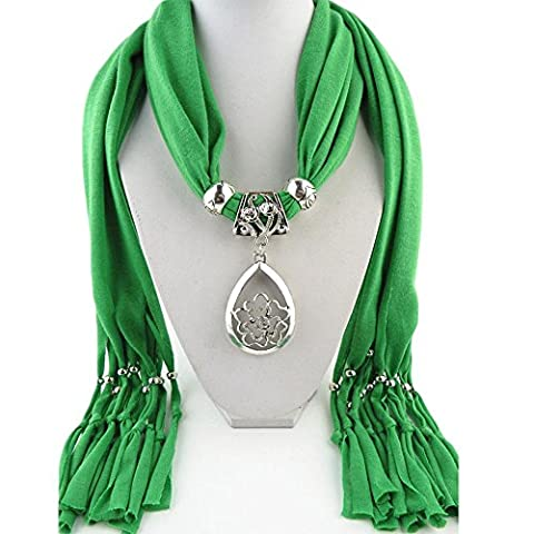 YXZN Women Hollow water droplets floral motif Pendant Necklace Scarf , 5
