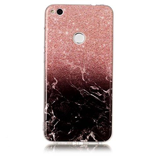 Alfort Funda Huawei P8 Lite 2017, Suave Silicona Gel TPU Cover Huawei P8 Lite 2017 Case Protectora para Huawei P8 Lite 2017 Carcasa Líneas de mármol (Negro)