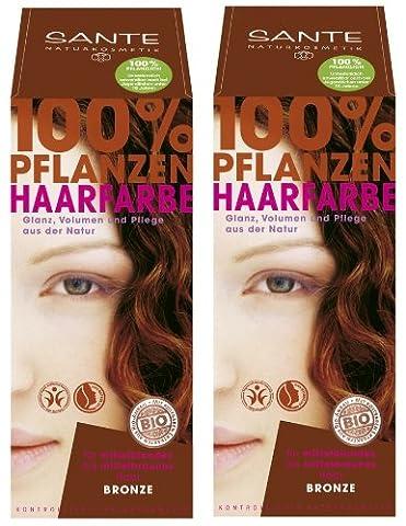 Sante Pflanzenhaarfarbe Haarfarbe im Doppelpack bronze 2 x 100 g im Set für ein tolles Farberlebnis
