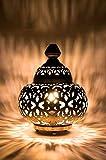 Orientalische kleine Tischlampe Lampe Aruna 31cm Silber | Marokkanische Tischlampen klein aus Metall, Lampenschirm silberfarben | Nachttischlampe modern, für Vintage, Retro & Landhaus Stil Design