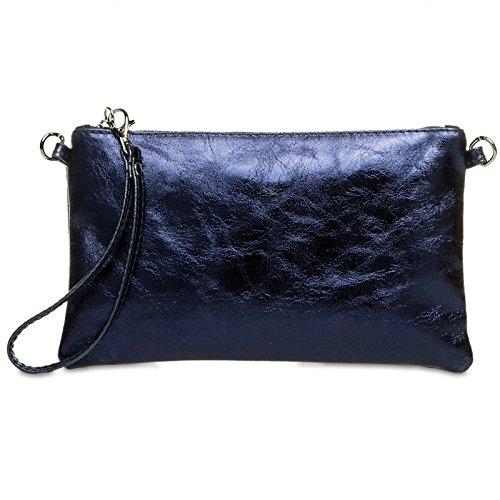 CASPAR TL717 Damen Leder Clutch, Farbe:dunkelblau;Größe:One Size