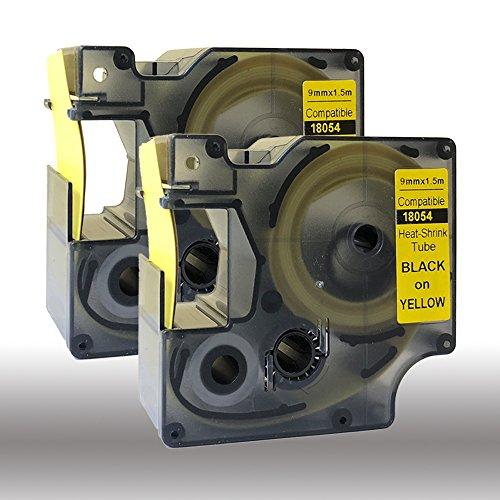 NEOUZA 18054 S0718290 Kompatibel für DYMO Rhino IND Pro Industrial Schrumpfschlauch-Kabeletiketten Etikett Tube Länge 1.5m Schwarz auf Gelb 9mm (2PK) EINWEG