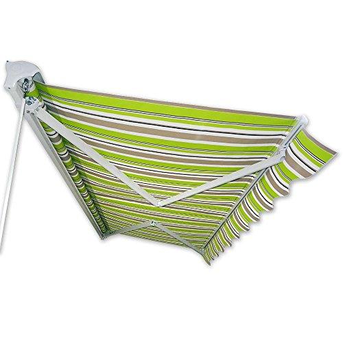 Kassetten-Markise 4 x 2,5 m grün-braun (Profilfarbe: Weiß) Hülsenmarkise Gelenkarmmarkise Sonnenschutz -