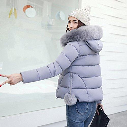 Malloom® Femmes Veste Manteau Hiver plus épais occasionnel Mincir Parka de pardessus Mode solide Gris