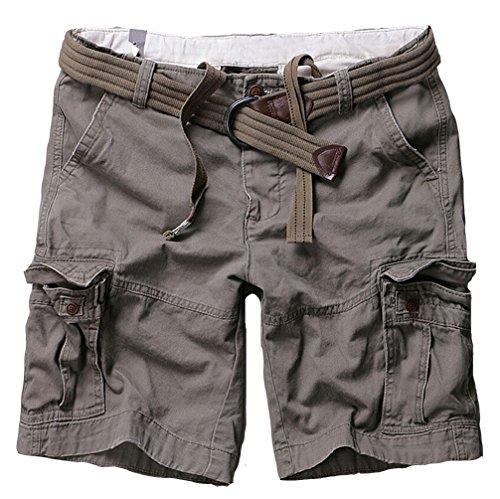Brinny Herren Bermuda Shorts Kurze Hose Cargo Chino mit Gürtel Hellgrau