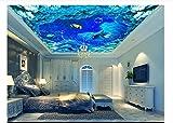 mznm 3D Fototapete Delfine 3D Deckenleuchte Tapeten Marine Wasser Linien Marine Deckenleuchte Wandbild 3D Wohnzimmer Tapete 400x280cm