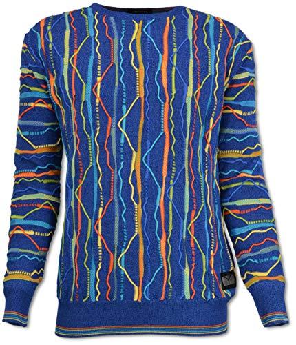Carlo Colucci Rundhals Pullover mit Intarsien, Blau Blau XL