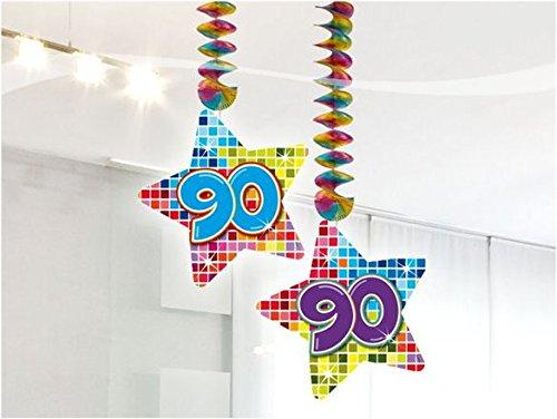 90.Geburtstag Deko Rotorspiralen 2 Stück Hängende Girlande mit Zahl 90 Spiraldeckenhänger bunter Stern mit 90 Dekoration zum 90er Geburtstag Party oder andere Anlässe - 2
