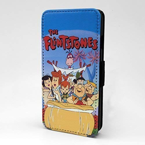Accessories4Life Familie Feuerstein Klappe Bedruckt Vorne Etui mit Kartenfächer & Magnetischer Druckknöpfe Spange für Apple IPHONE 7 - Fred Betty Barney Wilma - S-T853