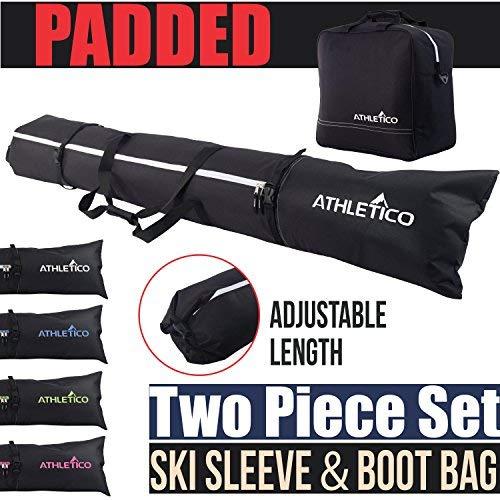Athletico gepolstert zweiteiliges Ski und Boot Bag Combo | Store & Transport Ski bis 200 cm und Stiefel bis Größe 13 | inkl. 1 Ski Bag & 1 Ski Boot Bag, schwarz (Ski-und Bag Combo Boot)