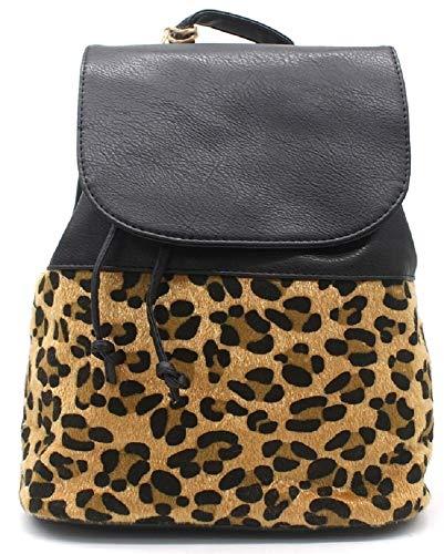 Dielay Damen Rucksack mit Leopardenmuster - Panther - PU Kunstleder - 32x30x15 cm (Schwarz)