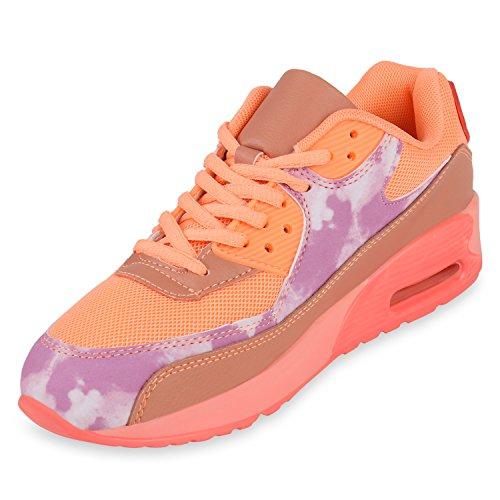 Trendige Unisex Laufschuhe | Damen Herren Kinder | Sportschuhe Metallic Glitzer | Camouflage Sneaker Bunt | Schnür Sport Turnschuhe Orange