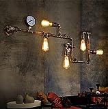 Retro Industrielle Wandleuchte Persönlichkeits Kreativer Wasserrohr Design Metall E27 5 flammig Wandlampe Für Wohnzimmer Restaurant Dekoration Beleuchtung Wand-Licht