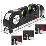 Niveles láser, herramienta de medición multipropósito DAMPOT, nivel de burbuja, nivel láser, cinta métrica, horizonte vertical retráctil autonivelante y regla métrica (8 pies / 2.5M), batería incluida