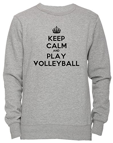 Keep Calm And Play Volleyball Unisex Herren Damen Jumper Sweatshirt Pullover Grau Größe S Men's Women's Grey Small Size S (Womens-volleyball Silver)