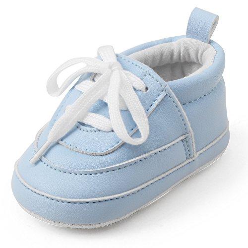 DELEBAO Babyschuhe Krabbelschuhe Turnschuhe Lauflernschuhe Weiche Sohle Lederschuhe Erste Kinderschuhe Baby Schuhe Kleinkind für Mädchen Jungen  - Blau - 2 (6-9)