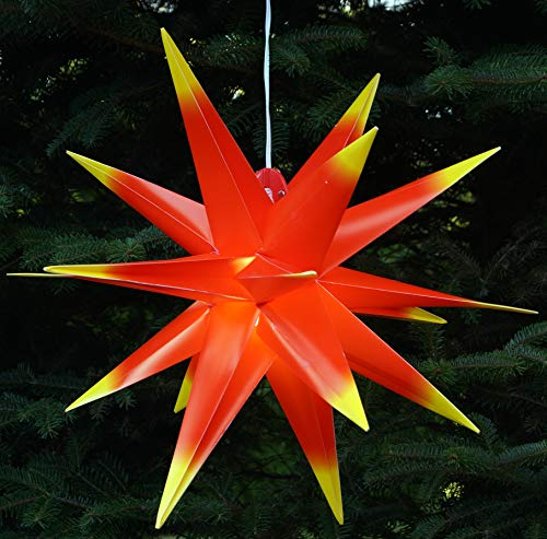 Guru-Shop 3D Außenstern, Weihnachtsstern, Faltstern Kaspar Rot-Gelb mit LED, Ø Ca.55 cm, Plastik, Weihnachtsstern, Adventsstern