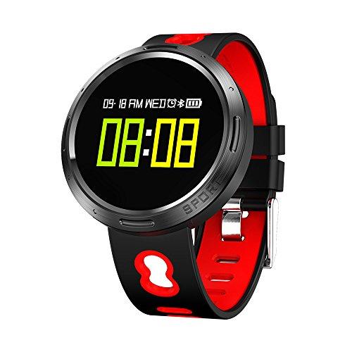 Nacatin Relojes Deportivos con Pulsómetro de Actividad, Smart Watch Reloj Inteligente Bluetooth 4.0, IP68 Impermeable, Reloj Mujer y Hombre con Sueño Monitoreo y Sedentario Recordatorio (Rojo)