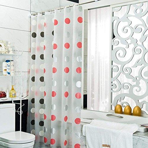 YLIAN Punkt duschvorhänge Bad Vorhang Schwarz Rosa Duschvorhänge Stoff Wasserdicht Bad partition Hängende vorhänge Duschvorhänge für Zuhause-Weiß W260xH200cm(102x79inch)