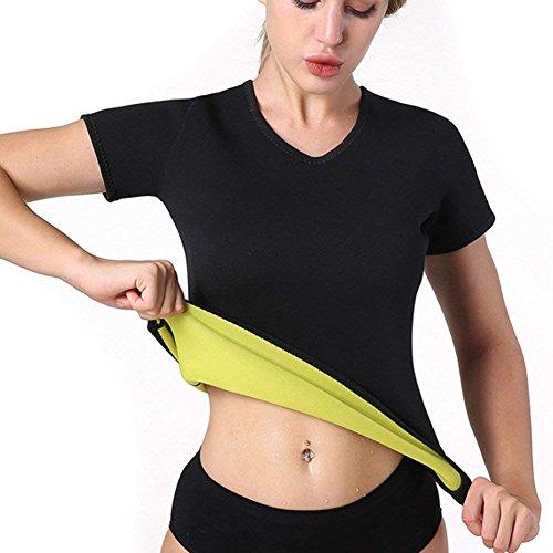 NOVECASA Gilet Sauna Femme Chemise Pantalon Court Néoprène pour Transpiration (XL, Chemise Courte)