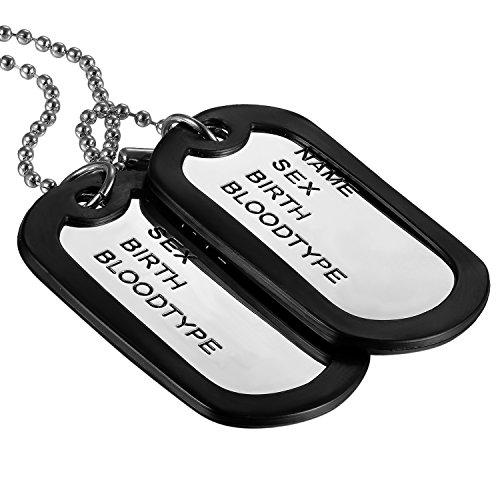 Oidea VatertagsgeschenkHerren Halskette, 2 Militärischen Erkennungsmarken Armee Stil Dog Tag Anhänger mit 70cm Kette, Schwarz Silber