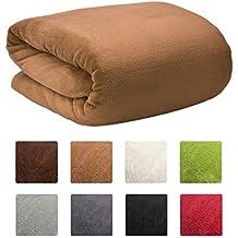 Beautissu XXL Manta Aurelia de sofá y cama suave cálida 220x240cm Microfibra forro polar Coral ÖKO-TEX Marrón claro