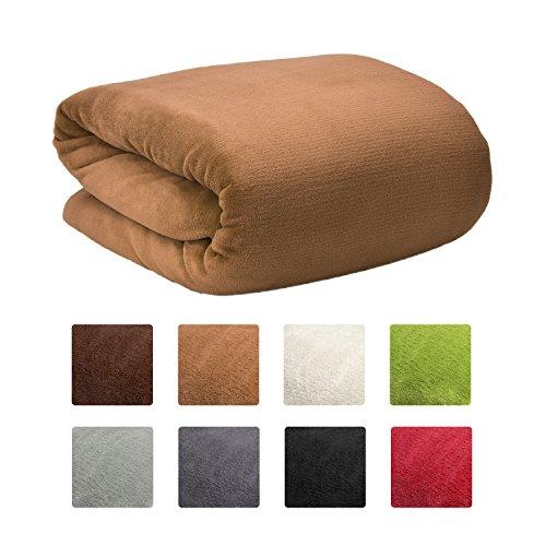 Beautissu XXL Manta Aurelia de sofá y cama suave cálida 220x240cm Microfibra forro polar Coral ÖKO-TEX Diversos colores