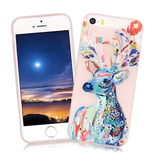XiaoXiMi Carcasa iPhone 5/5S/SE Funda Luminosa de Silicona Caucho Gel para iPhone...