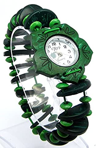 Green Beaded Stretch Strap Watch with White Round Face with Green Flower Shaped Bezel