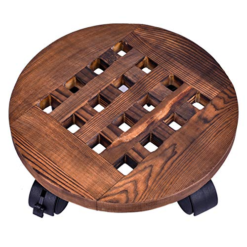 Gran capacidad de carga hasta 140 kg superficie redonda de madera con 4 ruedas Cemab 5 unidades 27 cm de di/ámetro Carrito portamacetas para plantas y flores color abedul natural