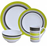 Camping Tableware Set for 4 People Melamine 16 piece Dishwasher-Safe / Set Camping / Picnic Dinner Set