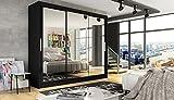 Ye Perfect Choice Brand New Modern Wardrobe Bedroom Mirror 3 Sliding Door Large Wardrobe Notsa 3 Width 250cm (Black, With Carrying Service)