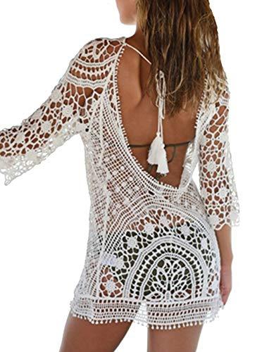id Rückenfrei Sommer Kleider Kurz Bikini Cover Up Strand Badeanzug Beach Kleid Schöne Spitze Strandkleider für Urlaub (Weiß, One Size) ()