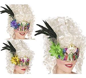 Atosa 33384Ojo Máscara, con Plumas, Multicolor