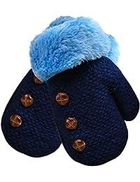 Cálido invierno lindo niño bebé chico chica guante Oscuro Azul