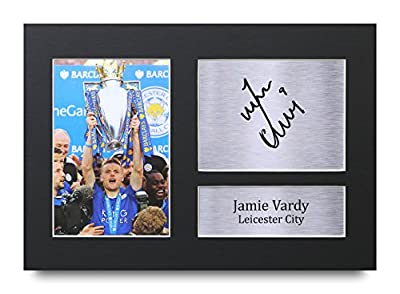 HWC Trading Jamie Vardy Gift Signed A4 Printed Autograph Leicester Gifts Photo Display