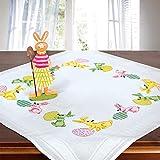 Stickpackung OSTERHASEN, komplettes vorgezeichnetes Kreuzstich Tischdecken Set zum Sticken zu Ostern, Stickset mit Stickvorlage