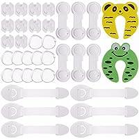 Rovtop kit de Seguridad para Bebés, 12 Protectores de Esquina de Silicona, 6 Cierres de Armario, 6 Cerraduras de Cajón, 2 Clips de Puerta, 10 Cubiertas de Protección de Socket