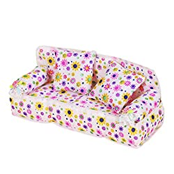 Generic Doll Sized Furniture Flower Print Sofa Couch