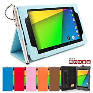Nexus 7.2 Case, Snugg - Baby Blue Leather Smart Case Cover [Lifetime Guarantee] Google Nexus 7.2 Protective Flip Stand Cover with Auto Wake / Sleep