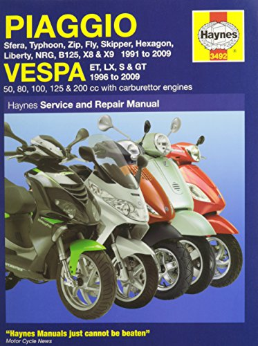 Piaggio and Vespa Scooters (with Carburettor Engines) Servic (Service & repair manuals)