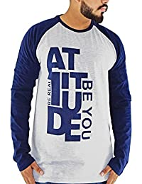 Attitude Grey And Navy Blue Men's Cotton Round Neck Full Sleeve T-shirt